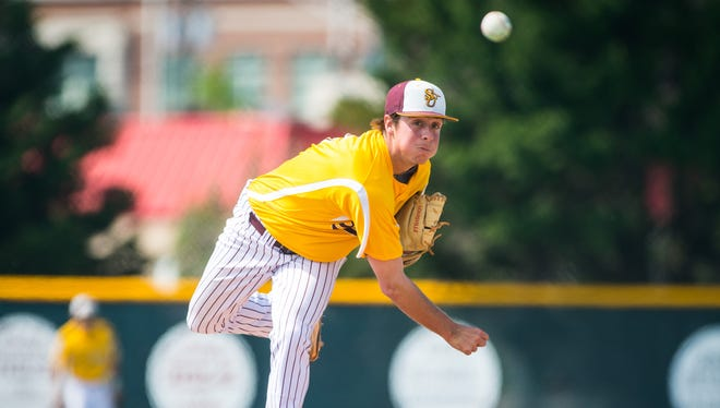 Salisbury starting pitcher Connor Reeves (6) throws to a Stevenson batter at the Salisbury University baseball field on Tuesday, April 26.