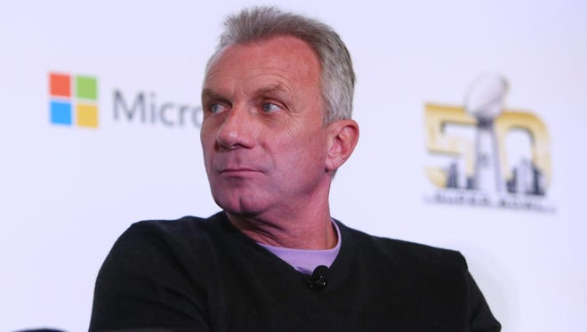 San Francisco 49ers former quarterback Joe Montana during the Microsoft future of football press conference at Moscone Center in advance of Super Bowl 50 between the Carolina Panthers and the Denver Broncos.