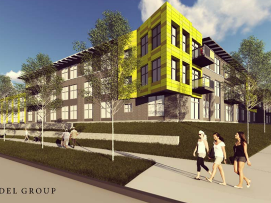 A three-story, 50-unit apartment building will likely be the next project at the Six Points mixed-use development in West Allis. Developer Mandel Group Inc. is already constructing two similar buildings, like the one shown above, at Six Points.