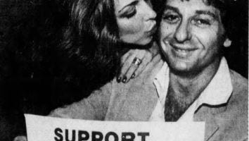 Joel Jacovitz, chairman of the Committee to Free South Jersey, gets a kiss from his wife Pam on a successful election night, Nov. 4, 1980.