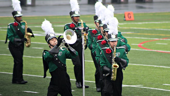 West Deptford High School Eagle Marching Band member Shay Vitale plays during the 2017 Atlantic Coast Championships at Hersheypark Stadium Nov. 5, 2017.
