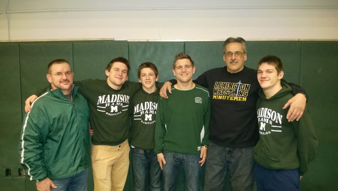 Jim Speelman (far left) with his sons, left to right, Gavin, Carson, Josh and Zane, and his long-time friend, mentor and coaching ally Nick Confalone.