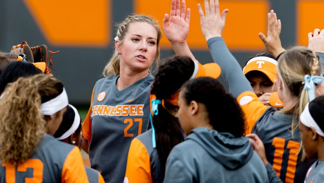 Tennessee pitcher Gabby Sprang (27) high-fives a teammate during a game between Tennessee and Missouri at Sherri Parker Lee Stadium in Knoxville, Tennessee on Saturday, March 10, 2018.