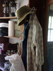 The late Tom Seigenthaler's coat rack with hat and