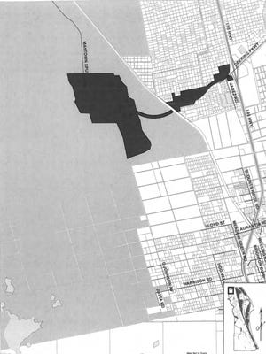 The black-shaded area on the map the boundaries of the proposed 983-acre Farmton-Brevard Community District, west of Interstate 95 in the Scottsmoor area. The gray-shaded area denotes other land owned by Swallowtail LLC in norther Brevard County.