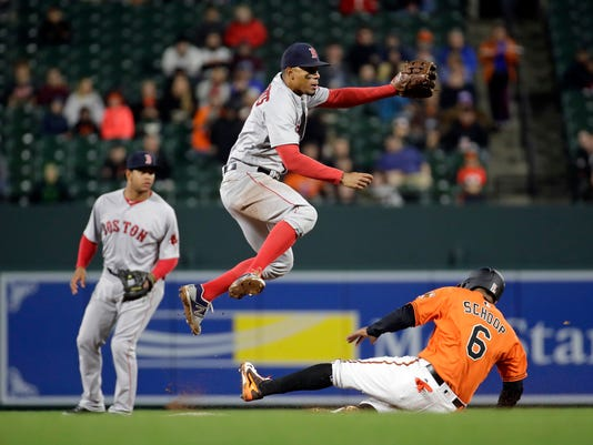 Boston Red Sox shortstop Xander Bogaerts, center, jumps to avoid Baltimore Orioles' Jonathan Schoop after forcing him out while turning a double play on a ground ball by J.J. Hardy to end the eighth inning of a baseball game in Baltimore, Saturday, April 22, 2017. Baltimore won 4-2. (AP Photo/Patrick Semansky)