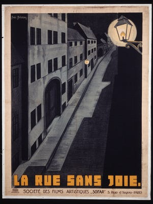 "The French poster for G.W. Pabst's 1925 film ""The Joyless Street"" captures the bleak perspective the period had on urban life."
