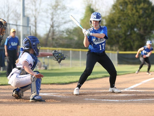 5 Allie Ray, McNairy Co, looks over a ball as Madison Williams, Chester Co c.JPG