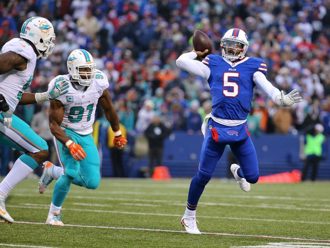 Quarterback Tyrod Taylor, shown in a game against Miami