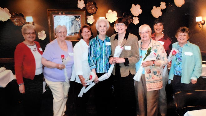 Twin Lakes Welcome Club officers for the upcoming year are: (from left) Dede Weerts, parlimentarian; Twyllah Schauer and Joan Woodard, second vice presidents; Irene Lillis, treasurer; Bonna Brobst, president; Lynda Bauman, first vice president; Anna Marie Eitenmiller, historian; and Paula Pharr, membership chairman. Maureen Rozelle, newsletter, and Sally Soderblom, sunshine chairman, were not available for the photo.