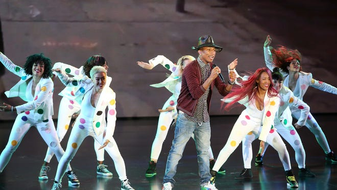 Pharrell Williams performs at  YouTube's Brandcast event at The Theater at Madison Square Garden on April 30 in New York City.