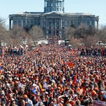 Denver Broncos fans fill Civic Center Park during a rally following a  parade for the NFL football Super Bowl champions, Tuesday, Feb. 9, 2016, in Denver.  (AP Photo/David Zalubowski)