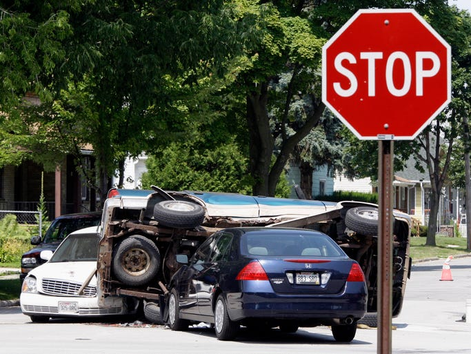 Three cars collided at 11th and Superior Avenue Wednesday August 6, 2014 in Sheboygan.