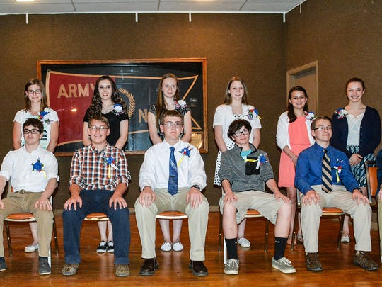 Most Outstanding winners, seated, from left, are: David A Crooks, Annunciation BVM School; Dennis Man, Ethan Baney, Emory H. Markel Intermediate; Coleman Weaver, Hanover Middle School; Tyler Lawrence, Immaculate Conception School; Donald Yealy, New Oxford Middle School; Peter Dizor, Sacred Heart School; Christopher Bruha, Saint Joseph Middle School; John Wolfe, Spring Grove Middle School; Standing: Hadlee M. Sanders, Annunciation BVM School; Tori Keefauver, Emory H. Markel Intermediate; Madelyn A. Hutton, Hanover Middle School; Grace Panzino, Immaculate Conception School; Rae El Cramer, New Oxford Middle School; Katelyn Kohler, Sacred Heart School.