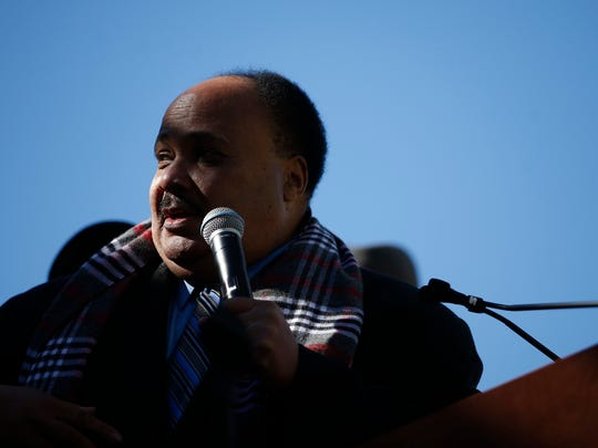 Martin Luther King III speaks to thousands of people from all over the state of Florida who gathered in downtown Tallahassee to rally in support of the Florida Tax Credit Scholarship in January 2016.
