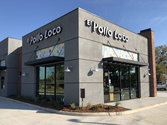 Slate grey exterior of El Pollo Loco free-standing restaurant.