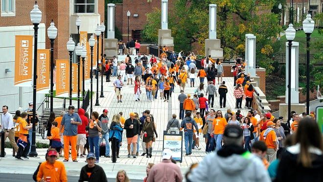 Fans mingle outside Neyland Stadium before the University of Tennessee plays Georgia in this file image from Saturday Oct. 10, 2015, in Knoxville.