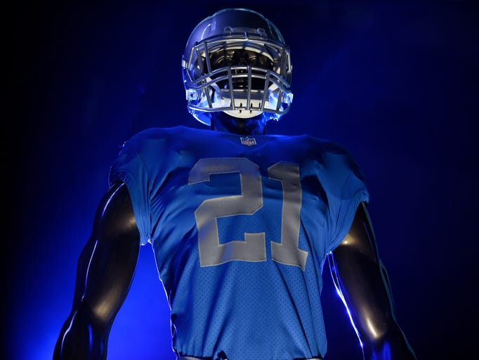 The Detroit Lions unveiled four new jerseys at Ford