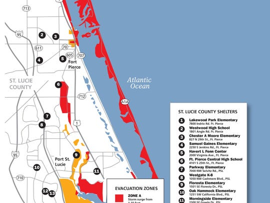 This map shows possible St. Lucie County hurricane