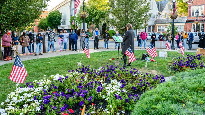 A crowd gathered in Stroudsburg's Courthouse Square on Sunday in vigil of the late Supreme Court Judge Ruth Bader Ginsburg. Ginsburg passed away on Friday, Sept. 18.