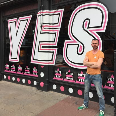 Shane Harte stands outside Panitbar in Dublin on May 21, 2015. Harte manages the establishment that caters to the capital city's gay community.