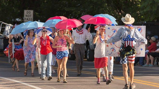 The Umbrella Bellas and Fellas march in a previous Doo Dah Parade.