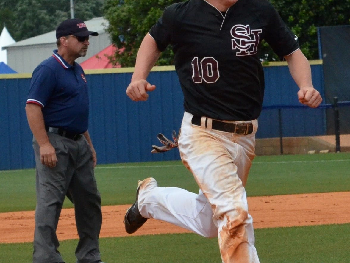 Spring Hill's Taylor Warwick makes his way to third base during the second inning of Friday's TSSAA Class AA state baseball championship game at MTSU's Reese Smith Jr. Field.