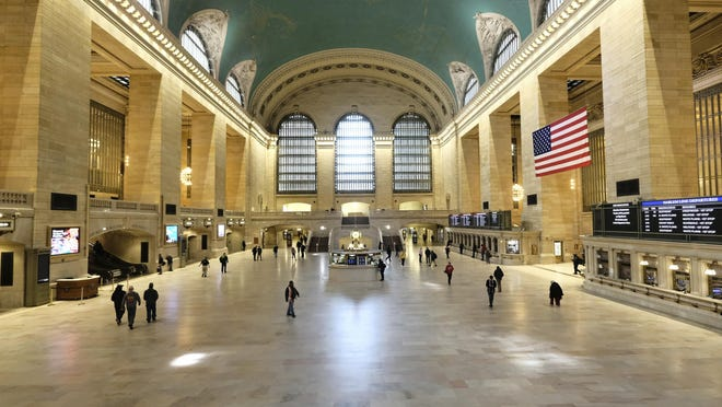 Grand Central Terminal has been without its usually large crowds lately as the coronavirus keeps commuters at home.