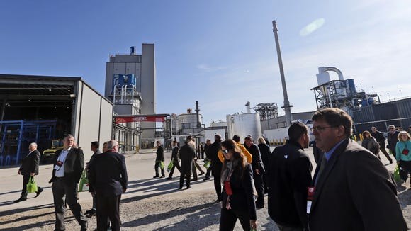 Guests at the opening of DuPont's new cellulosic ethanol facility in Nevada Iowa Friday, Oct. 30, 2015.