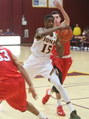 Iona's Deyshonee Much (15) in action against Fairfield during basketball game at Iona College in New Rochelle Dec. 1, 2015.