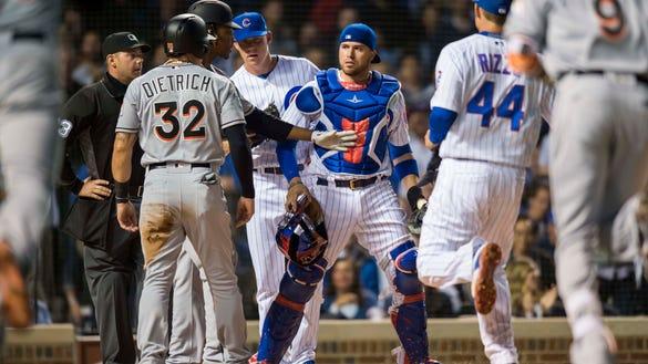 USP MLB: MIAMI MARLINS AT CHICAGO CUBS S BBN CHC MIA USA IL