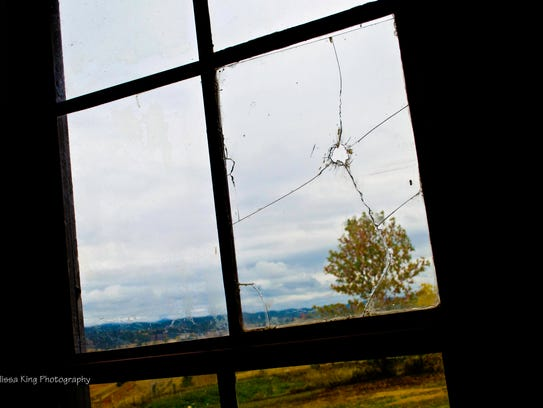 Window at Fort Hays shows where Major Fambrough's bullet