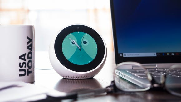 The Echo Spot is at home on a desk, a bedside table,