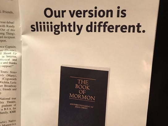 """The Mormon church advertises in the playbill for """"The"""