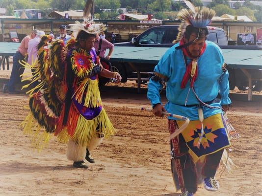 Mescalero Apache War Dancers attracted crowds at the Cowboy Symposium last weekend.
