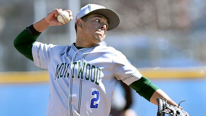 Montwood pitcher Fernie Zubia lets a pitch fly against Bel Air during the Socorro Independent School District Tournament on Friday at Montwood.