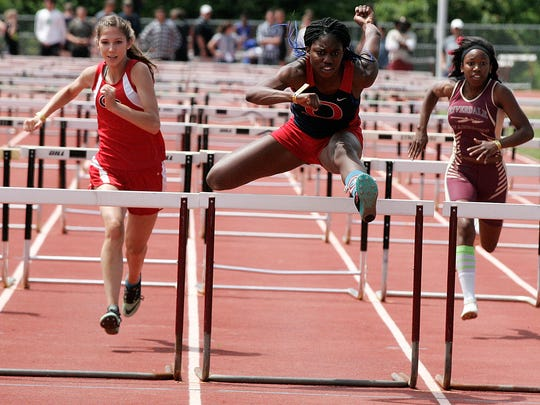 Oakland's Imani Udoumana won the 100-meter hurdles in 15.67 seconds. Udoumana qualified for five events: 100 hurdles, 300 hurdles, long jump, triple jump and the pentathlon at next week's Class AAA state meet.