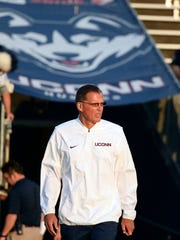Connecticut head coach Randy Edsall attends practice before an NCAA college football game against Holy Cross, Thursday, Aug. 31, 2017, in East Hartford, Conn. (AP Photo/Stephen Dunn)