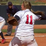 Dixie State pitcher Brooklyn Beardshear delivers a pitch to the plate to close out Game 1 of Monday's doubleheader at Dixie State.