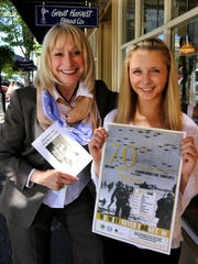 Barbara Jensen, left, and Anna Tinseth talk about the upcoming Oregon Spirit of '45 commemorative concert.