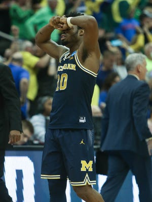 Michigan Wolverines guard Derrick Walton Jr. reacts after missing the final shot at the buzzer in U-M's 69-68 loss to Oregon in the NCAA tournament Thursday, March 23, 2017 at the Sprint Center in Kansas City.