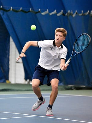 Dallastown's Holden Koons competes in a YAIAA boys' tennis AAA singles semifinal match Friday, April 27, 2018, at Wisehaven Tennis Center in Windsor Township.