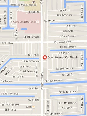Downtowner Car Wash map.
