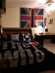 Steven's British music-themed bedroom.