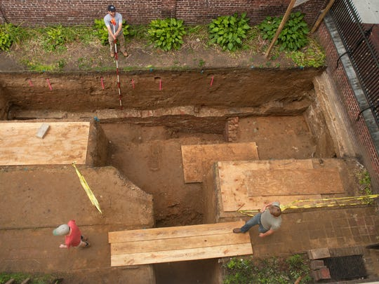 A view of the excavation site at the location of where the Ark one stood.  The Ark was a general store that did business adjacent to the Indian King Tavern on Kings Hwy. in Haddonfield.  08.06.14
