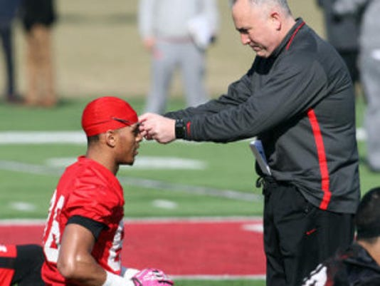 Rutgers coach Kyle Flood will not have the services of wide receiver Andre Patton against Washington State due to an upper body injury. (File photo)