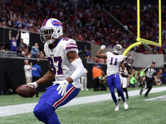 Buffalo Bills wide receiver Jordan Matthews (87) celebrates after he catches a touchdown pass in the second quarter against the Atlanta Falcons at Mercedes-Benz Stadium.