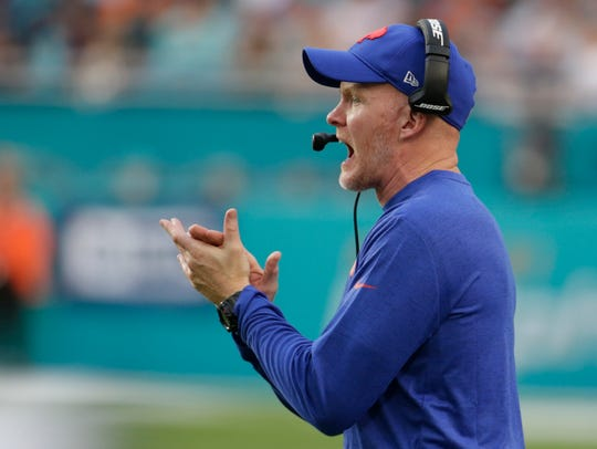 Buffalo Bills head coach Sean McDermott watches the
