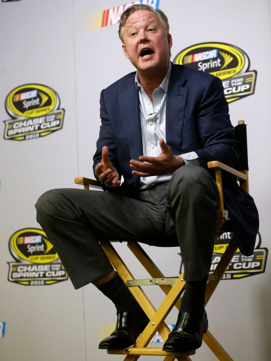 Brian France, NASCAR Chairman & CEO, talks to reporters at a news conference during the NASCAR Championship auto racing weekend Friday, Nov. 20, 2015, at Homestead-Miami Speedway in Homestead, Fla. (AP Photo/Alan Diaz)