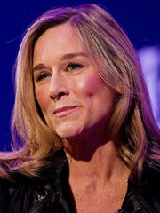 A file picture taken in London on Nov. 9, 2010, shows Angela Ahrendts addressing delegates at the Heritage Luxury conference.